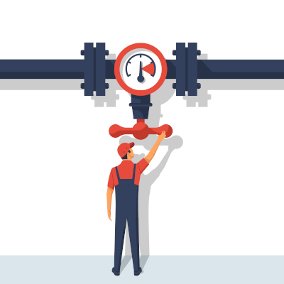 Clip art of a person turning a valve.